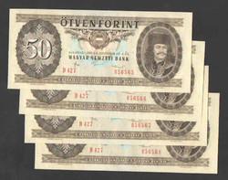 50 forint 1986. 4 db azonos sorszámúak!! UNC!!