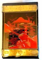 Antik ázsiai zenélő lakkfa doboz gyöngyházberakásos, rézveretes