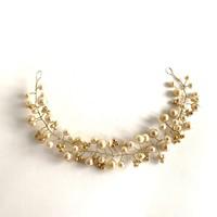 Menyasszonyi tiara hajdísz koszorú - törtfehér színű
