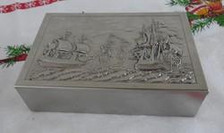 Vitorlás mintájú ezüstözött fém kártyadoboz