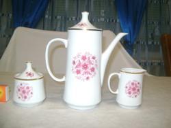 Alföldi porcelán kávés kanna, cukortartó és tej kiöntő