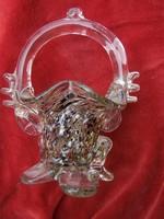 Muranói bonbonos kosárka M: 14 cm. Szép, dekoratív tárgy. Hibátlan