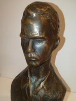 József Attila mellszobor, súlyos bronz,jelzett,gyönyörű - 1 forintról, garanciával.