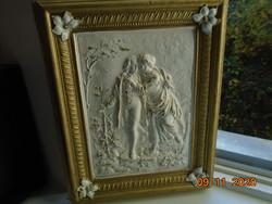 Barokk Stukkó relief falikép virágos aranyozott rámában