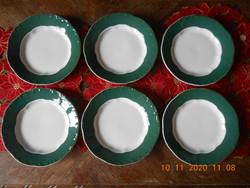 Zsolnay zöld Pompadour alapmázas süteményes tányérok 6 db