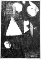 Schéner Mihály (1923-2009): Kompozíció - egyedi grafika keretben
