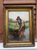 Népi élet festmény, mosás a patakban hangulatos szép festmény.