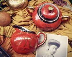Vintage japán Eiraku - Kutani stílusú porcelán cukortartó és tejkiöntő