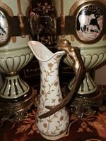 Szecessziós stílusú kiöntő ☆ porcelán és réz kombináció díszítéssel ☆