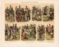 Hadseregek, egyenruhák története I.(2), litográfia 1898, német nyelvű, eredeti, katona, tiszt, hadi