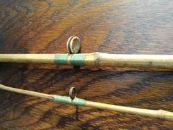 Jó régi horgászbot bambusz,cérna,porcelán,réz alkatrészekből, kettő darabra szedhető peca horgász