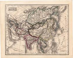 Ázsia térkép 1854, német nyelvű, eredeti, atlasz, osztrák, Kína, Japán, Tibet, Perzsia, Irán, India