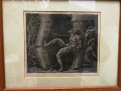 Ferenczi Valér rézkarc, szignált, modern alkotás! Remek dekoratív, gyüjtemény darab.