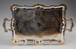 Ezüst antik pesti nagy méretű fülest álca - gyönyörű cizellált mintával