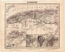 Algéria térkép 1854, német nyelvű, eredeti, atlasz, osztrák, Afrika, észak, Orán, Algier Constantine