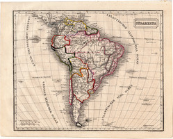 Dél - Amerika térkép 1854, német nyelvű, eredeti, atlasz, osztrák, Brazília, Argentína, Chile, Peru