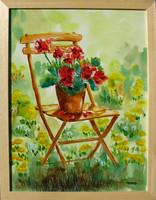 Moona - Muskátli széken TOUTOUNOV festményének másolata