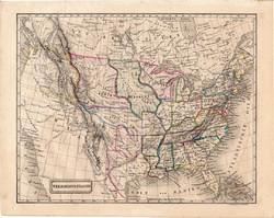 Amerikai Egyesült Államok térkép 1854, német nyelvű, eredeti, atlasz, osztrák, Amerika, állam, észak