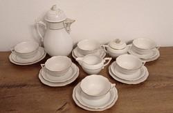 Herendi teás / reggeliző készlet! Fehér, arany dekor.