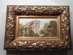 Várkastély az erdőben - antik festmény