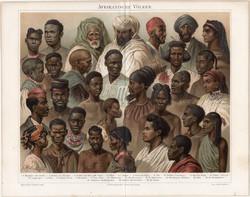 Afrikai népfajok, litográfia 1896, eredeti, német nylevű, nép, ember, Afrika, arab, kopt, berber