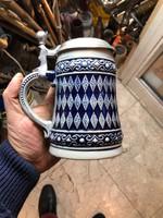 Régi kerámia söröskorsó, gyűjtőknek kiválódarab. 15  cm