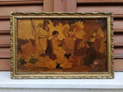 Intarzia kép intarzia mestermű színes népi, aratás, alakokkal, sok alakos, jelenetes.