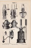 Lámpák I. és II., egyszín nyomat 1894, német nyelvű, eredeti, lámpa, világítás, égő, petróleum