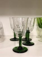 4 dbos zöld talpú kristály készlet