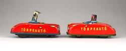 1C129 Antik lemezárugyári piros Törpeautó pár