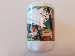 Régi Zsolnay porcelán pohár mesemintás törpés mókusos Hófehérkés csésze