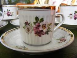 Antik, Hollóházi mokkás, kávés készlet, klasszikus virágos dekorral