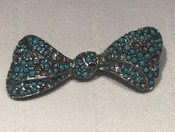 Antik ezüst masni bross kék porcelán gyöngyökkel, 4,5 cm széles, jelzett