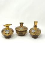 Elegáns vintage csehszlovák Bohemia női boudoir szett - 2 db parfümös üveg és egy ékszertartó -CZ