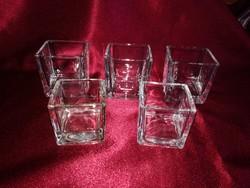 5 db vastagfalú üveg mécsestartó