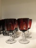 4 db-os Bordó metszett kristály pohár készlet feles pohár