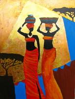 Moona - Afrikai nők EREDETI olajfestmény