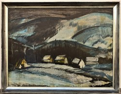 Kis István (1931 - ) Havas táj c. Képcsarnokos festménye 86x66cm Eredeti Garanciával !