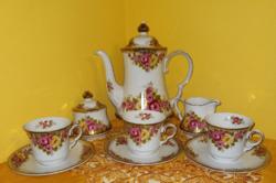 Weinterling Rösiqu Bavaria Csodás rózsas csészék.kiöntő kanna cukortartó