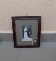 Régi üvegezett képkeret esküvői fotóval 1946-ból 22*26 cm
