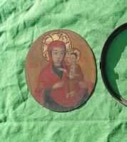 19. századi vaslemezre festett szentkép, réz keretben