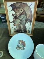 Hummel porcelán bögre , tányér , kép