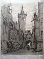 Városrészlet akvarell