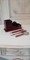 Rózsafa írókészlet asztali tolltartóval és névjegy tartóval