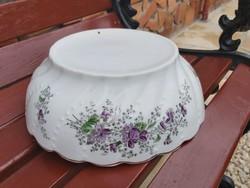 Gyönyörű ritka  27.5  cm-es Ibolyás csavart porcelán pogácsás tál, Gyűjtői darab