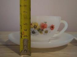 Üveg teás garnitúra virágmintás dekorral (6db csésze + 6db alátét)