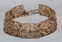 Antik Ezüst Tartalmú Filigrán Karkötő Stilizált Szívecske Díszítéssel,Tökéletes Állapotú !