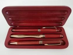 Rózsafa írókészlet fa tolltartóval 4db -os