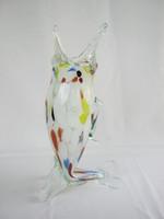 Retro üveg hal alakú váza