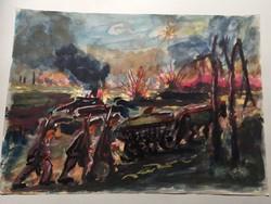"""Menetelő katonák"""" Akvarell"""